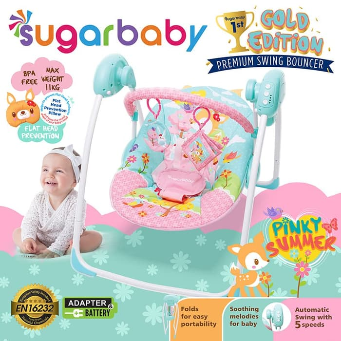 Sugar Baby Gold Edition Premium Swing Bouncer - Pinky Summer