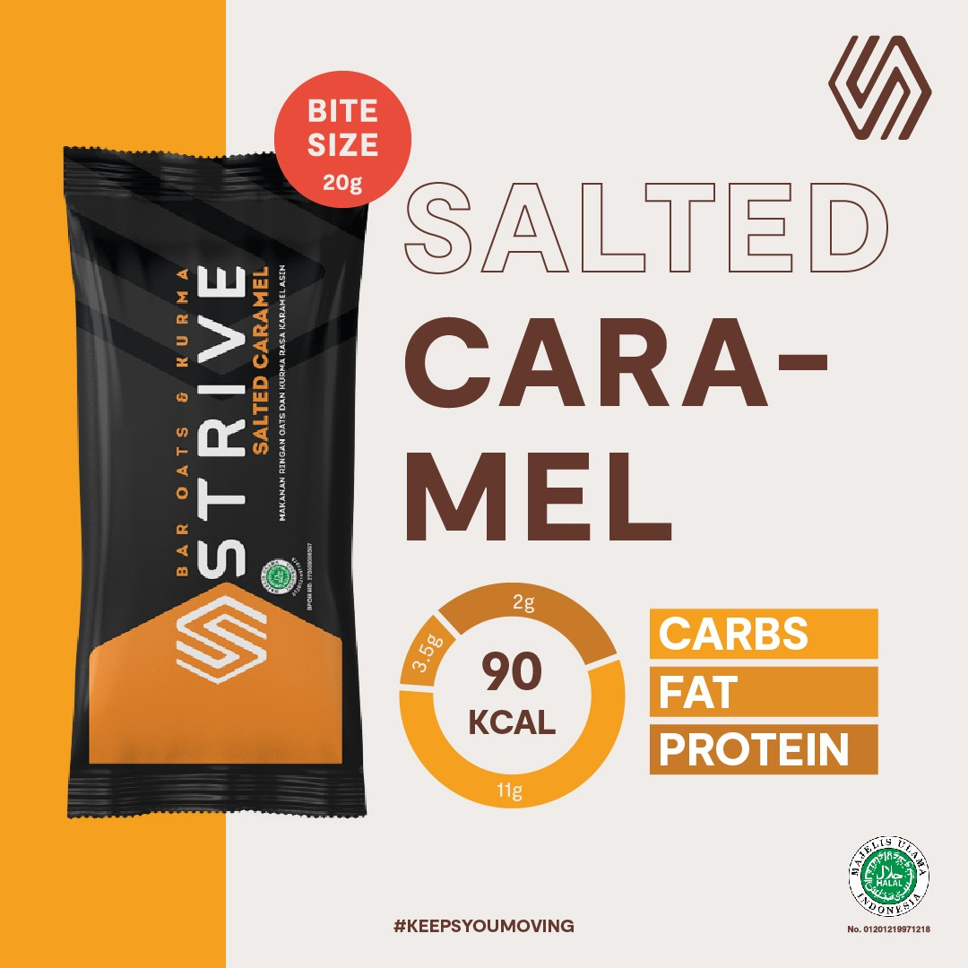 Strive Bite Size rasa Salted Caramel 1 Box isi 5pcs