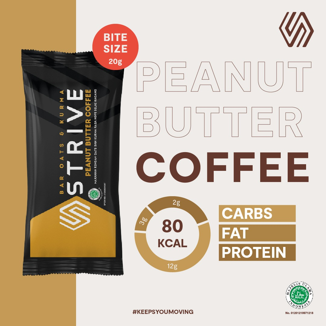 Strive Bite Size rasa Peanut Butter Coffee 1 Box isi 5pcs